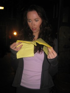 Actress Elyse Levesque reads the script.