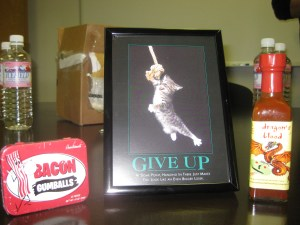 Bacon gumballs, a picture/frame, and hot sauce.