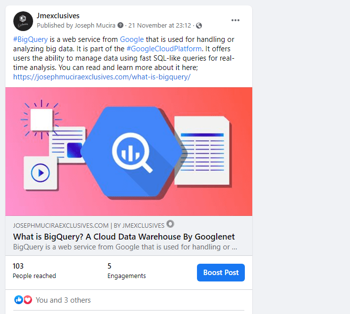 A Facebook post with a nofollow link