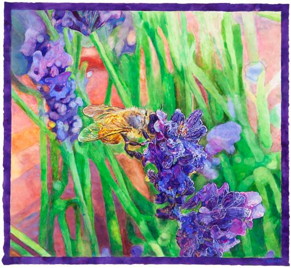 Hung Liu Bee and Blue Flower