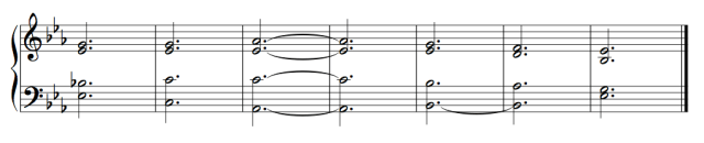 Ex. 6a. Imaginary continuo in choral spacing