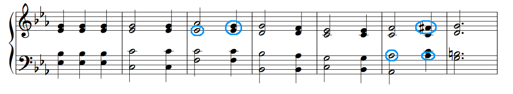 Ex. 4. Elaborations on 1-6-2-5 and the descending tetrachord