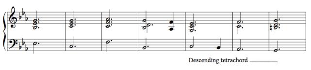 Ex. 3c. The descending tetrachord starting on the submediant (C)