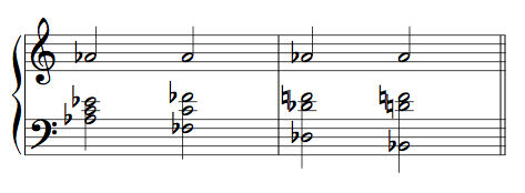 Ex. 1. Basic tonal contexts for A-flat