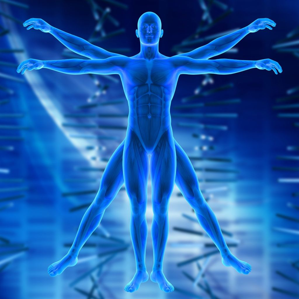 3D render of a medical background with Vitruvian style male figure