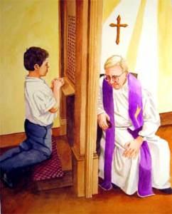 En el confesionario.