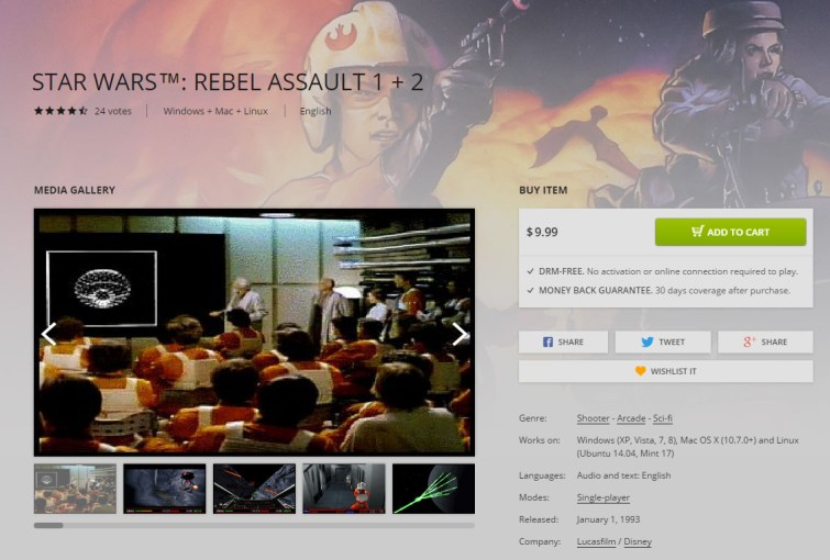Star Wars: Rebel Assault 1+2 a la venta en GOG.com