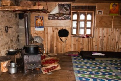Bhutanese rural home kitchen.