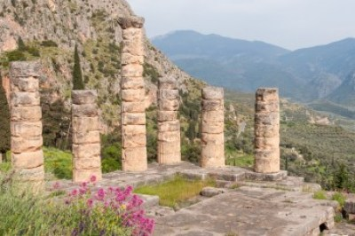 Delphi's Temple of Apollo overlooks the valley of Phocis.
