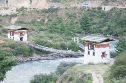 Bhutan - Bridge across the Paro River.