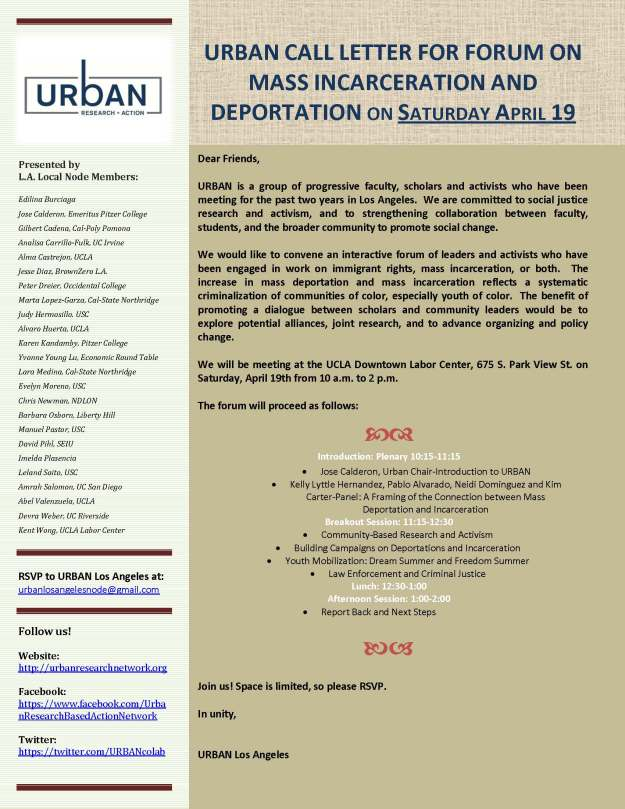 Official URBAN CALL LETTER FOR FORUM April 19