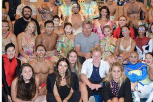 Gordon Ramsay and his family with the cast of Mystere by Cirque du Soleil, Aug. 11