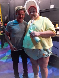 Gordon Ramsay poses with the famous gigantic baby from Mystere by Cirque du Soleil, Aug. 11