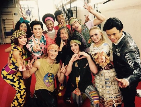 Steven Tyler with the cast of The Beatles LOVE by Cirque du Soleil, June 30.jpg