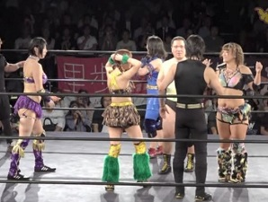 An Chamu, Hagane Shinnou, and Makoto vs. Antonio Honda, SAKI, and Sayaka Obihiro