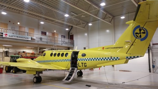 Beechcraft King Air 200 luftambulance, with space for 2 patients on stretchers.