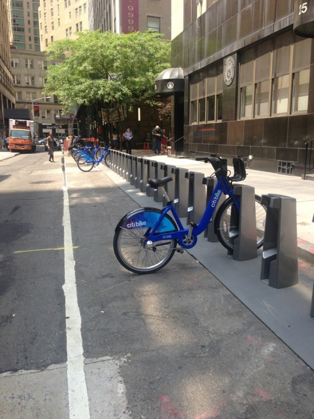 Citibike locked up in a dock