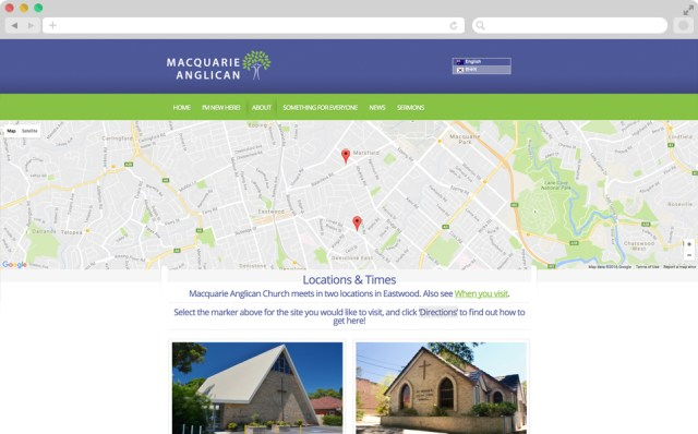 Screen shot of the location and times page. There is a map with two pointers showing the churches locations, and two images showing the two church building exteriors.