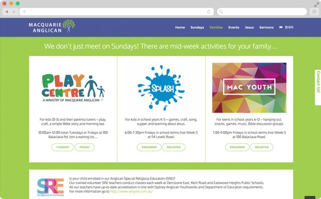 Screen shot of the site, with a green background with different ministries featured.
