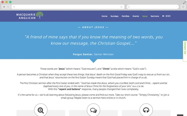 Screen shot of the site, with a light blue and white background with some text.
