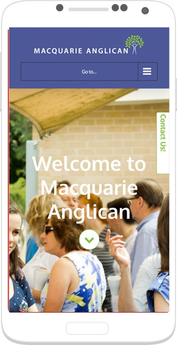 Screenshot from a phone of the site. It shows an image of people having morning tea, with big white letters stating Welcome to Macquarie Anglican.