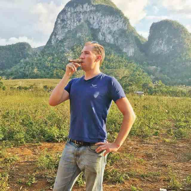 Smoking a cigar in the valley of Vinales What anhellip