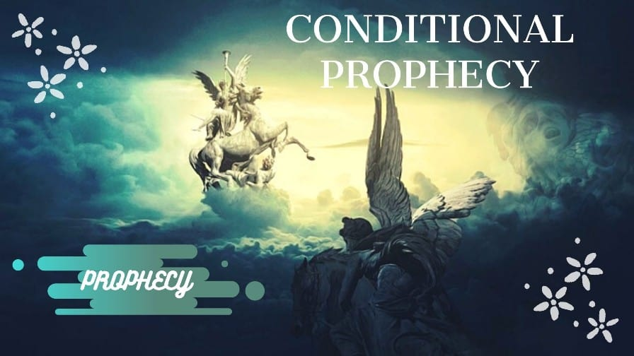 an angel blowing a trumpet while riding on a white horse as a sign of conditional prophecies