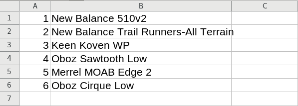 CSV data rows