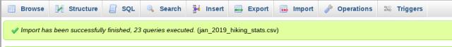 successful upload message in phpMyAdmin