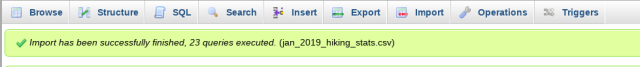 successful upload message in phpMyAdmin