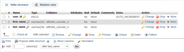 phpMyAdmin table definition with unique columns