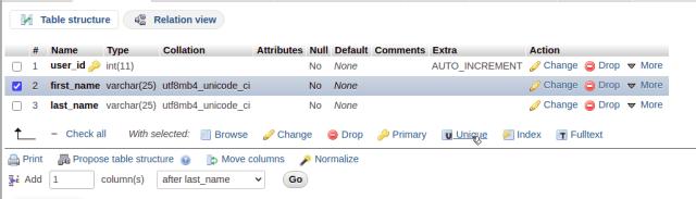 phpMyAdmin add unique constraint to column