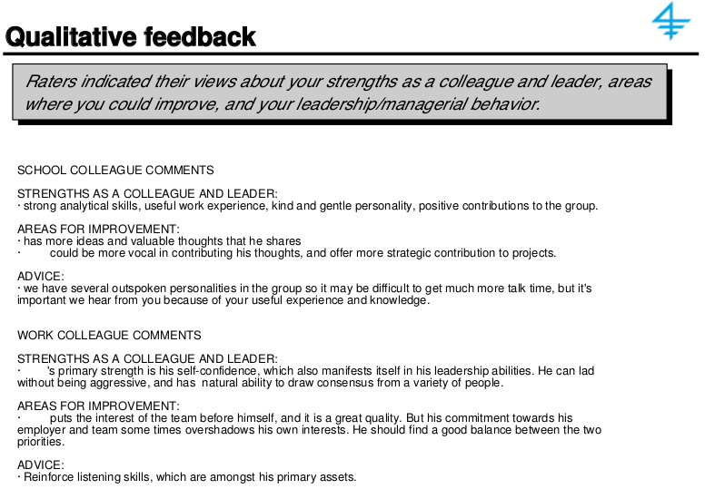 360 degree feedback -- qualitative feedback