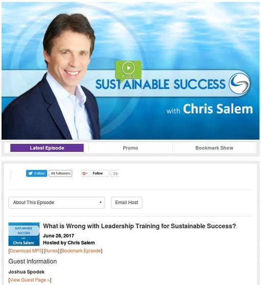 Chris Salem interviews Joshua Spodek on the Sustainable Success radio show
