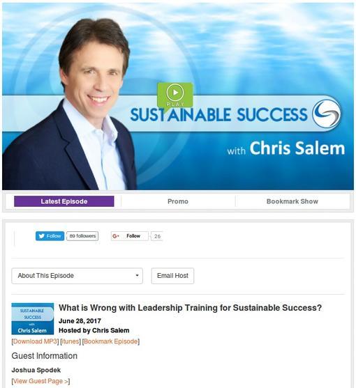 Chris Salem interviews Joshua Spodek on the Sustainable Success radio show