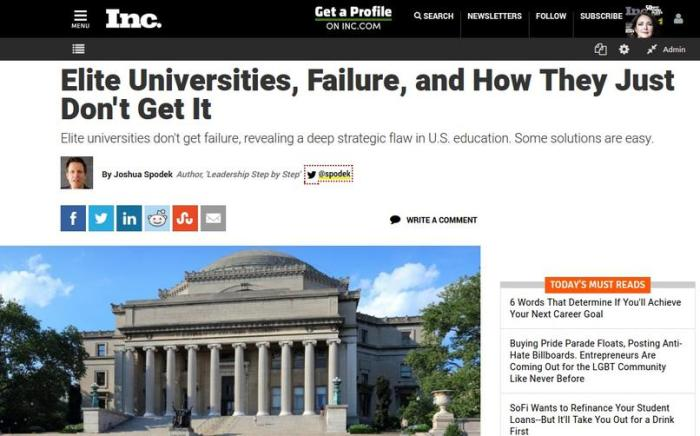 """Elite Universities, Failure, and How They Just Don't Get It"" Joshua Spodek's article in Inc."