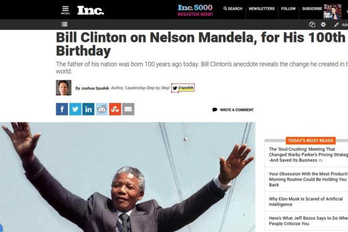 Bill Clinton on Nelson Mandela, for His 100th Birthday