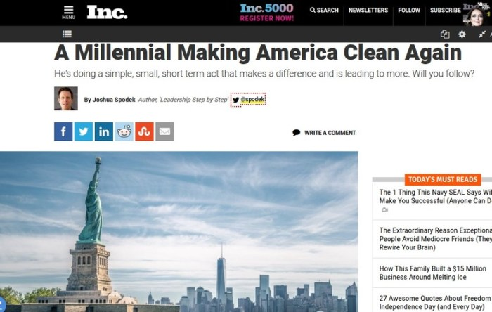 A Millennial Making America Clean Again, Joshua Spodek's July 4 Inc. article