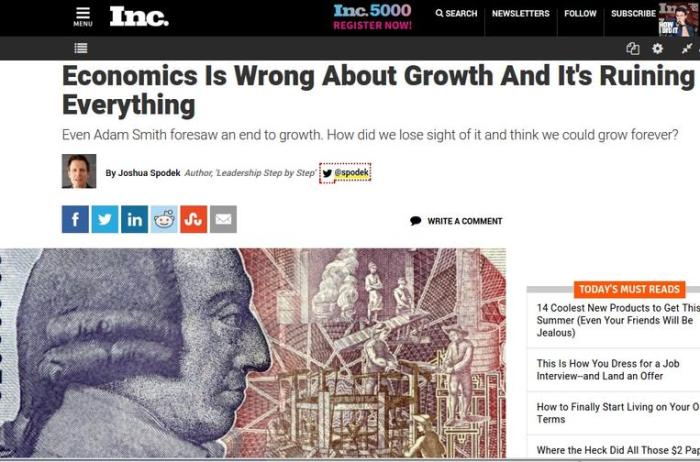 My Inc. post about growth and steady state economies