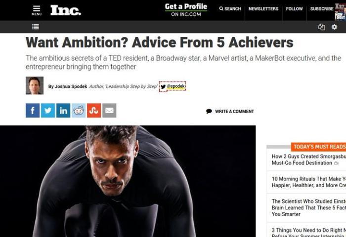 Joshua Spodek's Inc. story on ambition