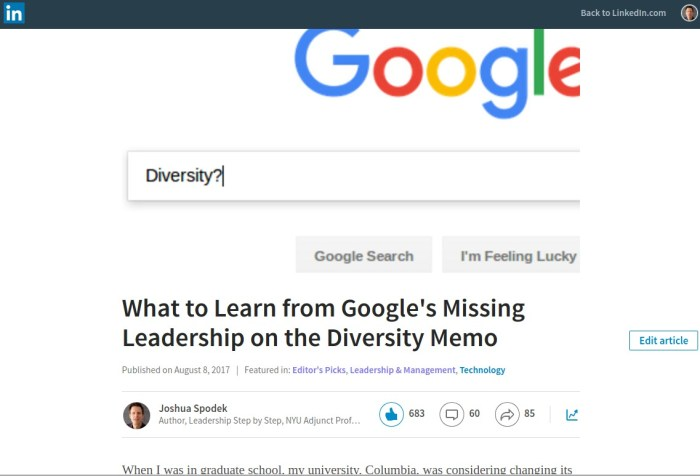 LindedIn Google diversity Memo
