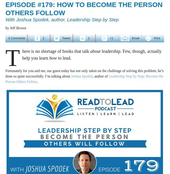 Read To Lead's Jeff Brown interviews Joshua Spodek