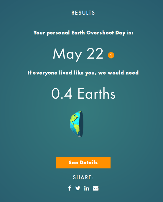 Global Footprint Day calculates what they call my ecological footprint from my behavior as I report it