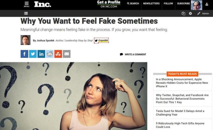 Why You Want to Feel Fake Sometimes