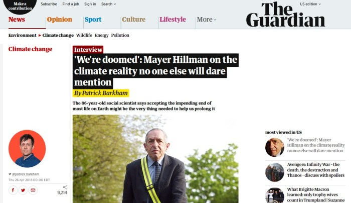 'We're doomed': Mayer Hillman on the climate reality no one else will dare mention