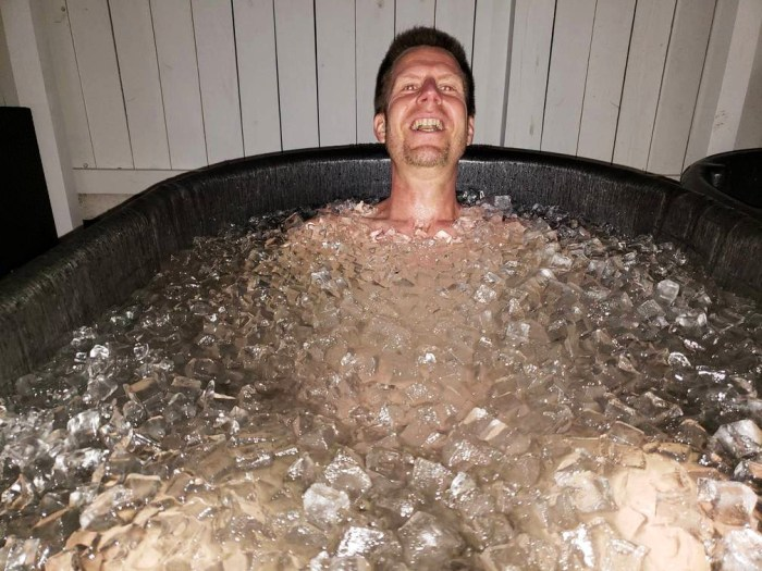 Joshua Spodek in an ice bath