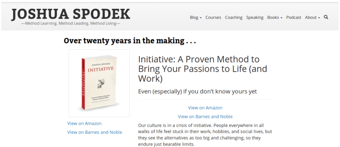 A screen shot of Initiative's simple book page