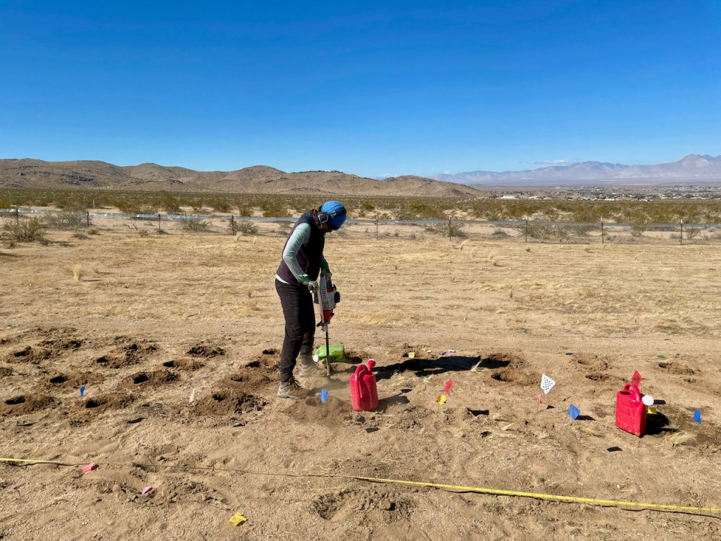 A woman digging six-inch holes in sandy soil with a power auger
