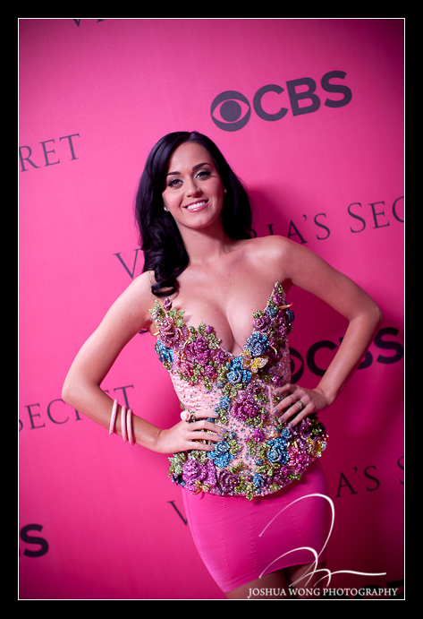 Katy Perry on the pink carpet at the 2011 Victoria Secret Fashion Show in New York City - photography by Event photographer Josh Wong