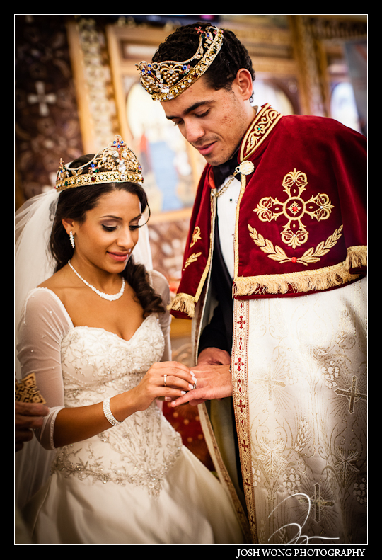 The vows and the wedding ring exchange. St. Abraams Coptic Church